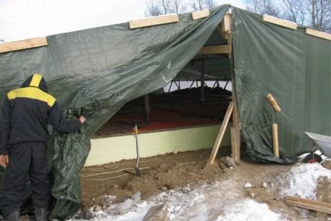 Бетонирование зимой. укрытие