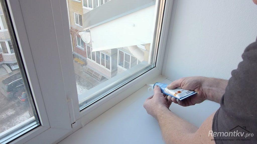 Утепление окна герметиком